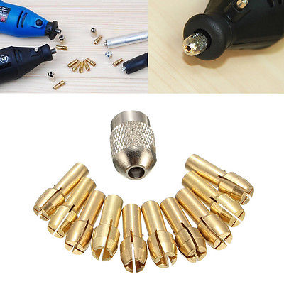OOTDTY 10Pcs 0.5-3.2mm Brass Drill Chuck Collet Bits 4.3mm Shank For Dremel Rotary Tool