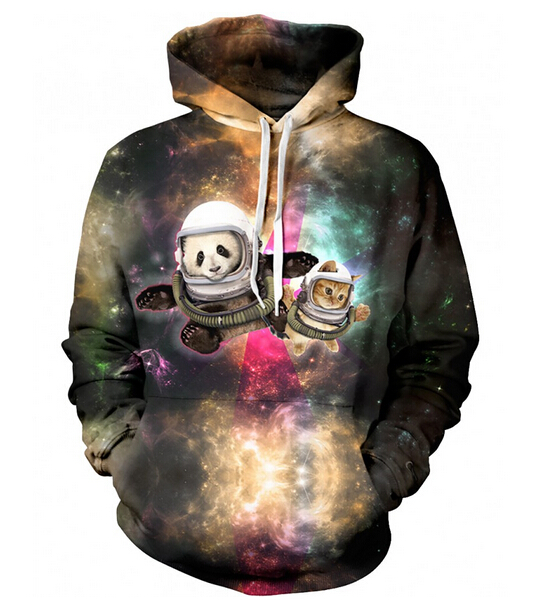 Women Men Fashion CAT AND PANDA ASTRONAUT PALS galaxy 3D Hoodie Outerwear Harajuku Loose Hooded Sweatshirt