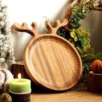 Rustico Piatti di Legno Creativo Carino Cervi Di Legno di Frutta Da Dessert Piatti Piatto Da Tavola Vassoio di Recidere Legno Posate Regali Di Natale