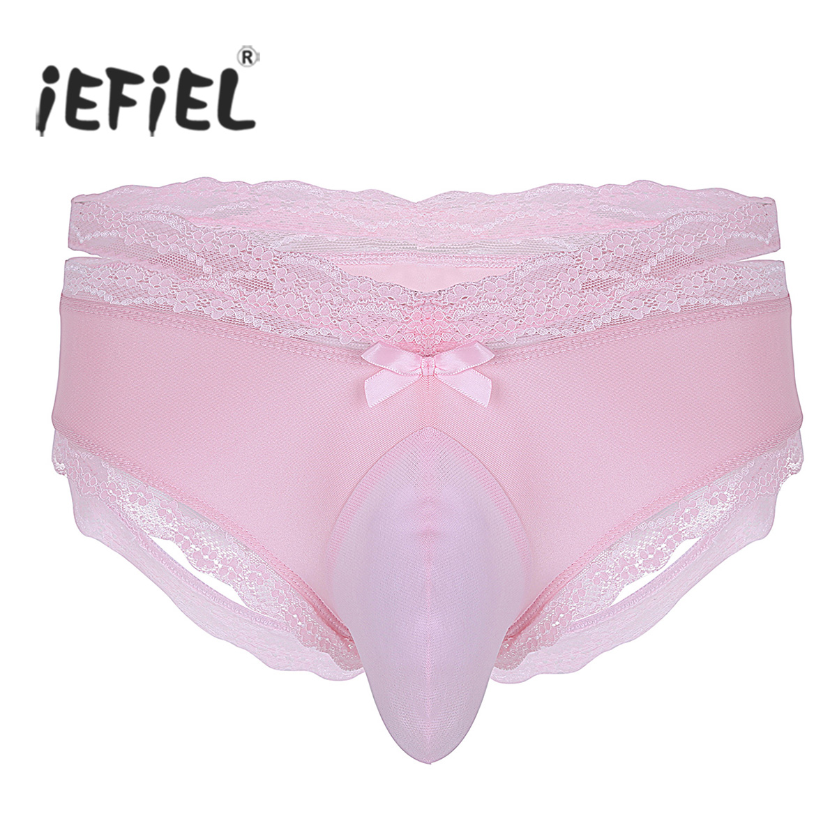 Mens Lingerie Sexy Panties Low Rise Open Back Lace Floral Bulge Pouch Sissy Jockstraps -3275