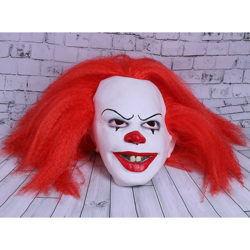 Movie Stephen King's It Mask Pennywise Mask Cosplay Masks Red Hair Clown Joker Halloween (7)