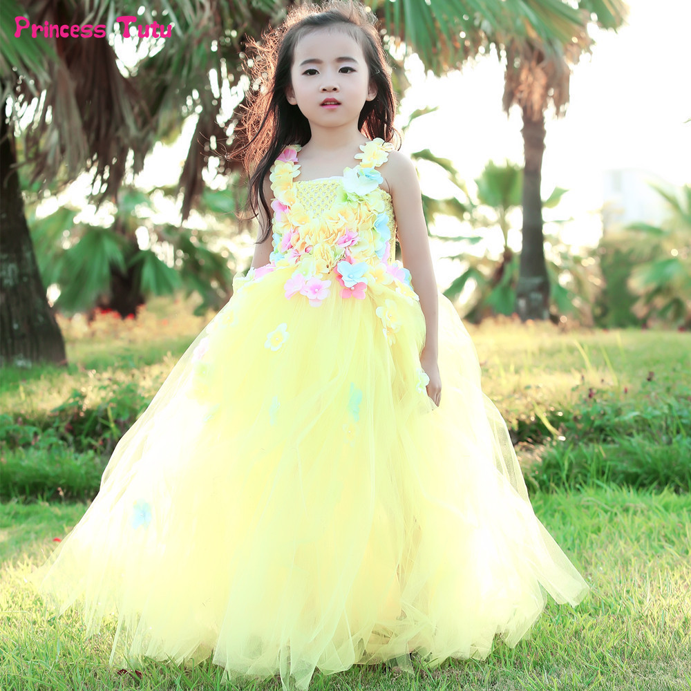 Belle Princess Tutu Dress Flower Fairy Girl Party Ball Gown Dress Wedding Flower Girl Dresses Kids Beauty Beast Cosplay Costume beauty and the beast belle princess tutu dress baby kids party christmas halloween cosplay costume flowers girls ball gown dress