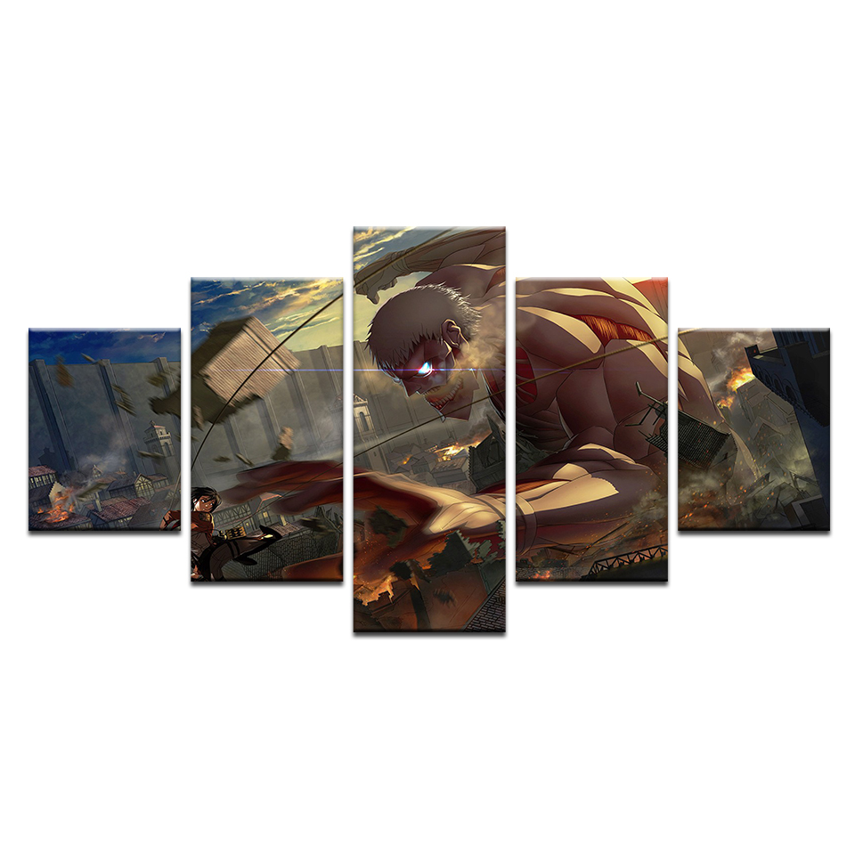 5 Pcs Canvas Attack On Titan Painting For Living Room Wall