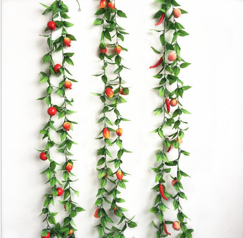 Fleurs artificielles 1 fruits mousse légumes, magasin de fruits en rotin, ferme joyeux jardin d'enfants plafond, fausses feuilles plantes vignes - 2