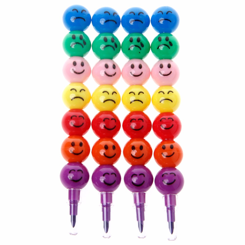 4Pcs 7 Colors Haw Cartoon Smiley Graffiti Pen Stacker Swap Cute Smile Face Crayon For School Childrens Toys Gift