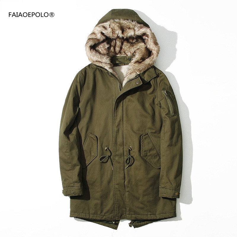 2017 fashion fur collar army green men parka long cotton coat autumn&winter brand men's cotton thick warm jacket Smart casual new 2015 autumn winter outdoors medium long fleece jacket fur hooded army green parka men thickening coat 10