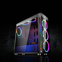 Acrylic Gaming Computer Case Tower ATX Micro ATX PC Case Full Tower RGB PC Case USB3.0 2.0 with 4 RGB 120mm Cooling Fan for PUBG