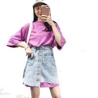 BONU Summer 2 Piece Loose Jeans Dress+T Shirt Demin Dress Streetwear Women BF Oversize Print Harajuku Dresses Beach Dress