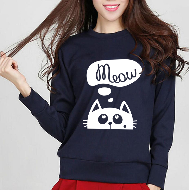 Cat Meow Harajuku Women Hooded 2019 Autumn Winter Hoodies Sweatshirt Lady Fleece Harajuku Kawaii Slim Fit Hoody Casual Tracksuit