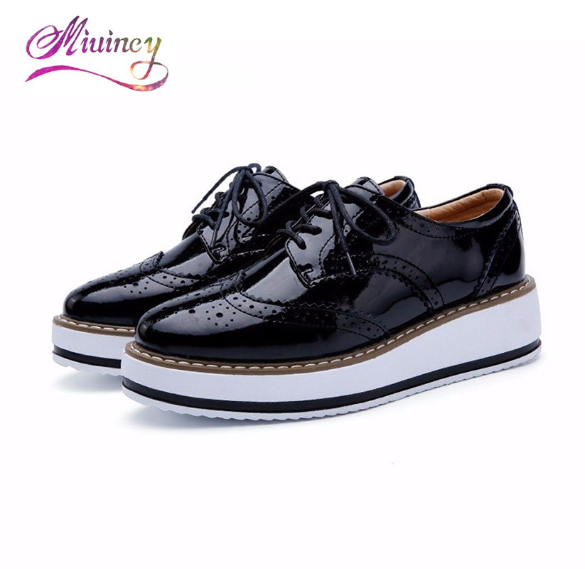 Women Platform Shoes Woman Brogue Patent Leather Flats Lace Up Creepers Female Flat Oxford Shoes For Women phyanic creepers 2017 leisure lace up silver platform shoes woman loafers fashion flats women brogue shoes 3 colors xdy4257