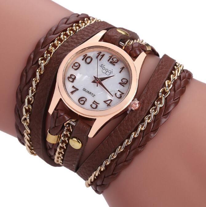 Luxury Brand Leather Quartz Watch Women Ladies Casual Fashion Bracelet Wrist Watch Clock relogio feminino leopard braided female цена и фото