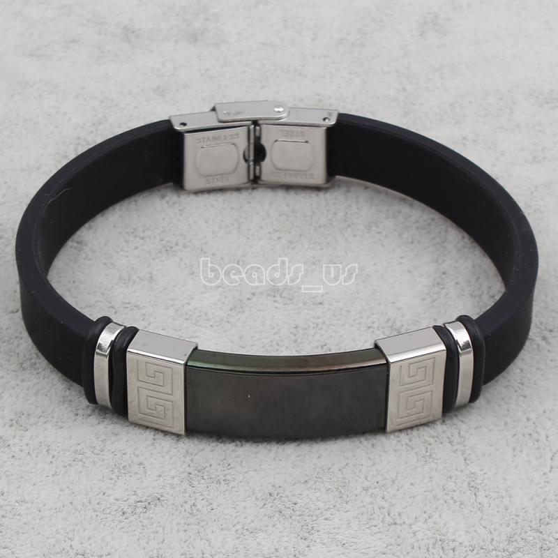 Silicone Bracelets,Fashion, Stainless Steel, with Silicone, plated, black, 13x41x6mm, Sold Per Approx 7.5 Inch Strand