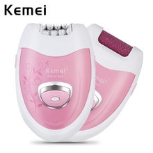 Kemei 2 in 1 Rechargeable Electric Epilator Cordless Hair Remover Skin Care Lady Epilator Electric Foot Callus Remover