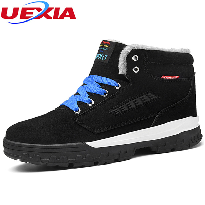 UEXIA Outdoor Fashion Winter Suede Snow Boots Men Shoes Warm Boots Plush Fur Ankle Work Shoes