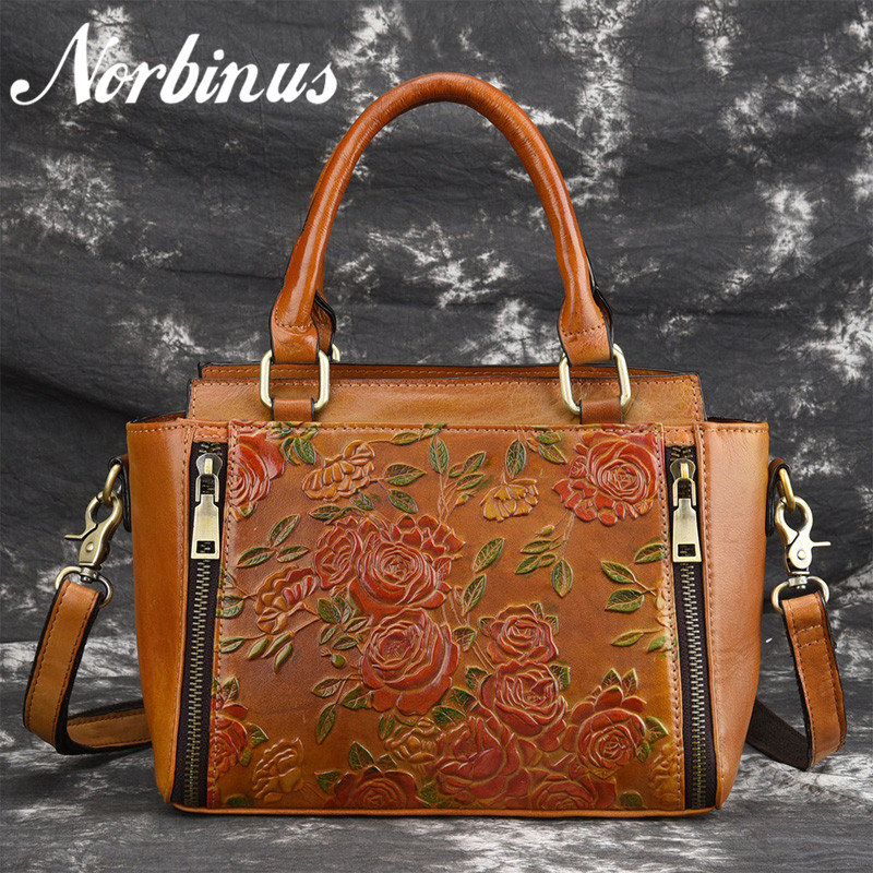 Norbinus Women Natural Skin Messenger Shoulder Bag Female Genuine Leather Handbags Fashion Embossed Flower Crossbody Tote