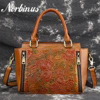 Norbinus Women Natural Skin Messenger Shoulder Bag Female Genuine Leather Handbags Fashion Embossed Flower Crossbody Tote Bolsa