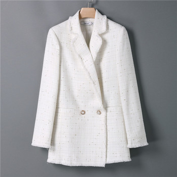 Double Breasted Long Sleeve Office Coat