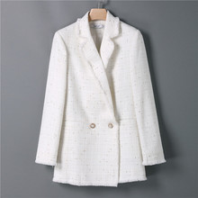 Women White Tweed  Long Blazer Suit Women Double Breasted Long Sleeve Office Coat Lady Autumn Casual Jackets Outwear Talever
