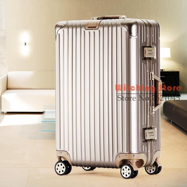 26 PULGADAS 202426 #, negocio de equipaje universal ruedas de aluminio varilla de aleación de magnesio metal bordo maleta caja # CE ENVÍO GRATIS