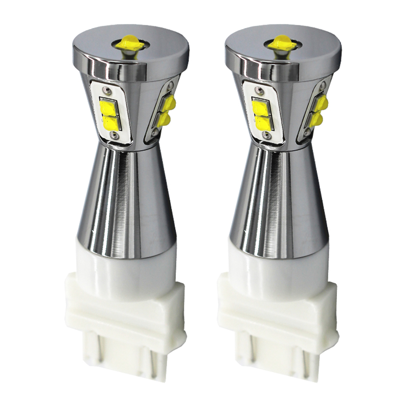 2pcs Car LED Signal Light 3157 Amber Auto LED Bulb Super Bright Turn Signal Lamp White 3157 T25 Car bulbs Red 45W Auto Lights 1056 auto bulbs py21w s25 led 3014 smd car tail bulb turn signal auto reverse lamp daytime running light amber white yellow