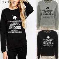 DLVIRA 2017 New Women Autumn Winter Unicorn Printed Letters O-Neck Loose Warm Plus Cashmere Hoodie Casual Pullover Clothing