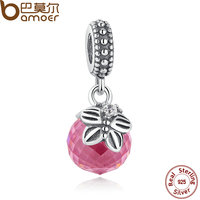 BAMOER New Arrival 925 Sterling Silver Morning Butterfly Pink Clear CZ Charms Pendant For Bracelet Necklace