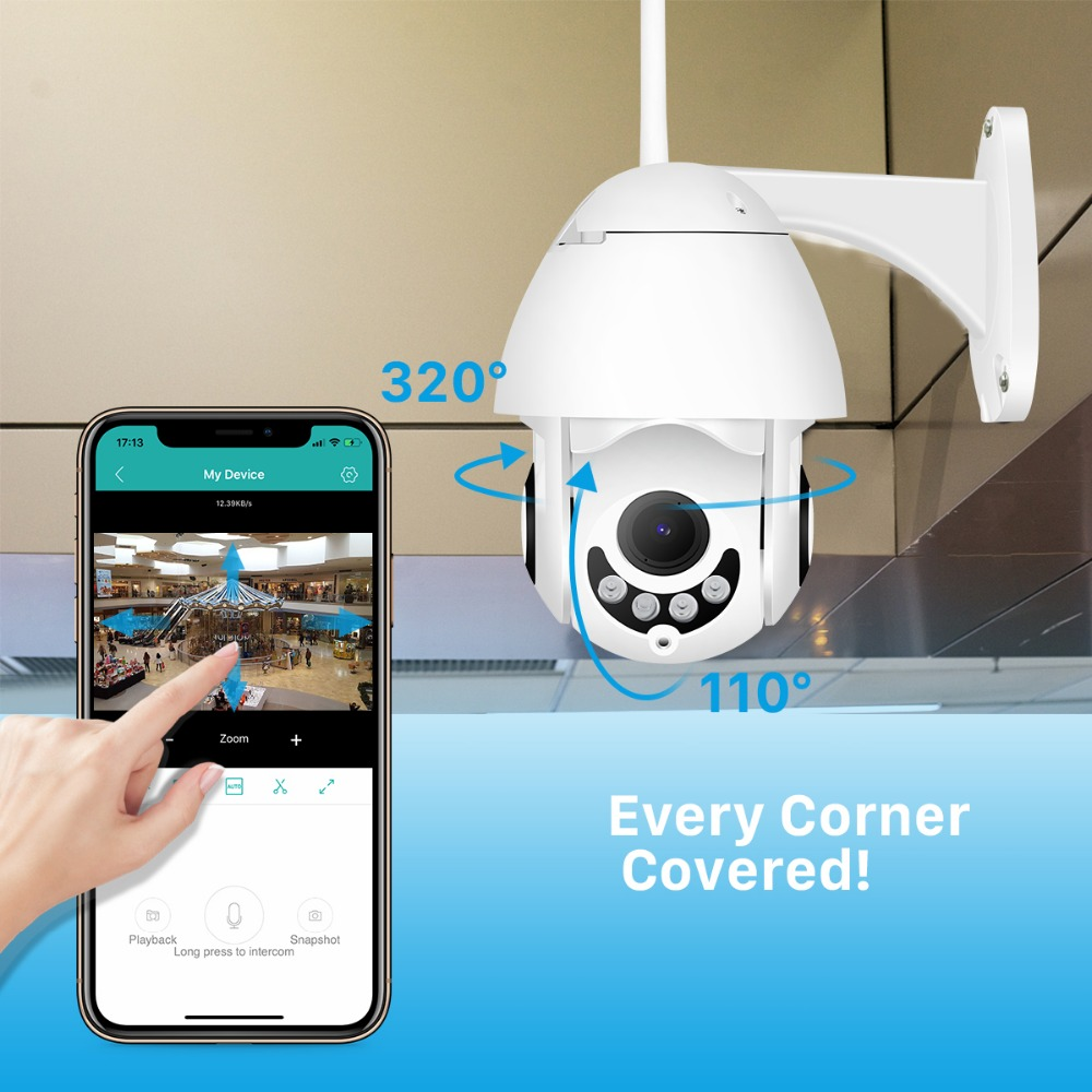 BESDER Cloud Storage Outdoor WiFi PTZ IP Camera 1080P Speed Dome CCTV Security Cameras Two Way