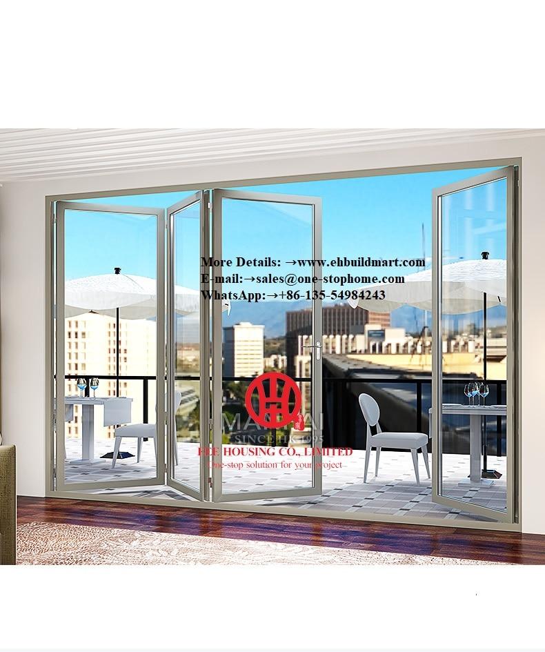 Portes pliantes intérieures en verre coupe-froid, portes intérieures en verre noir en aluminium, portes intérieures en verre