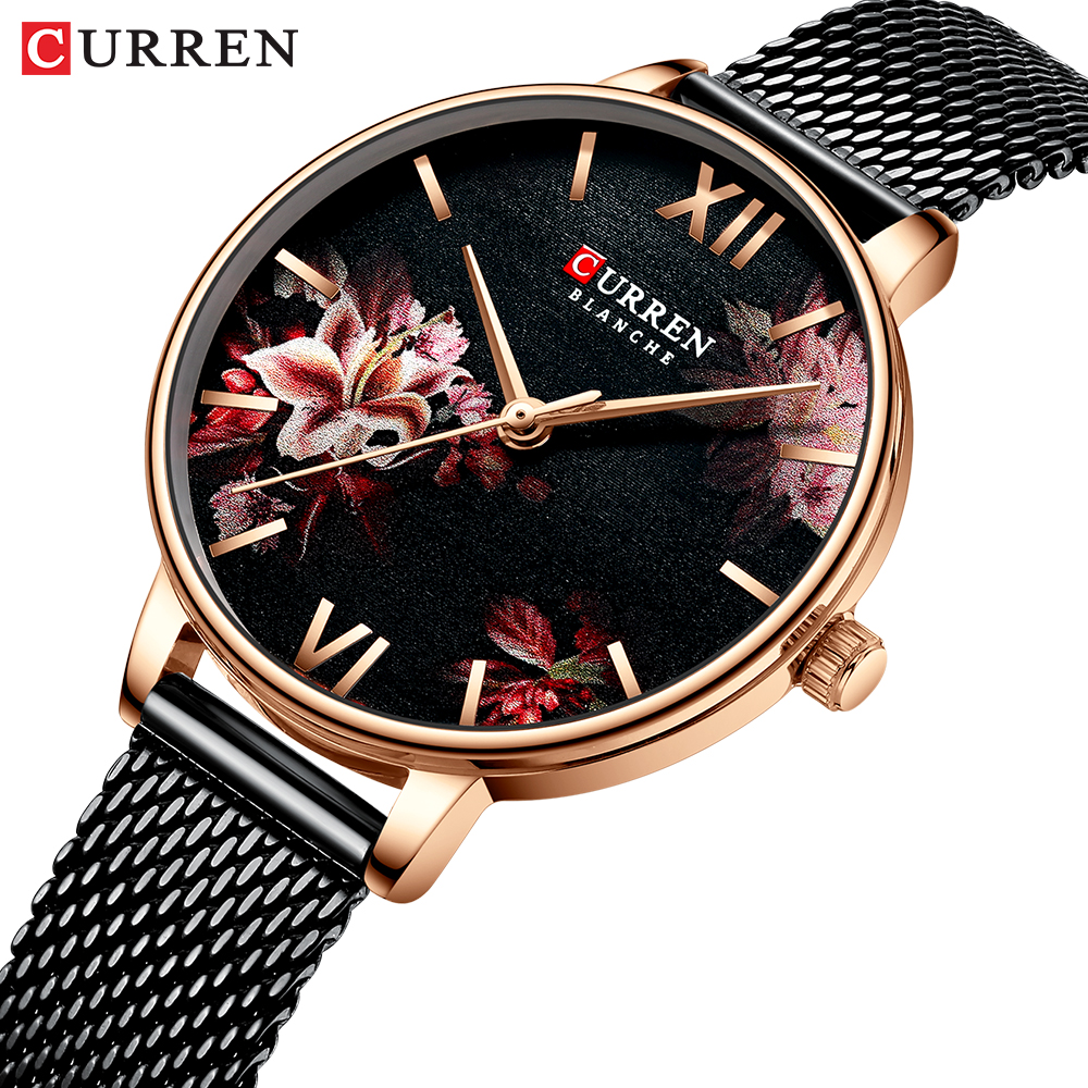 Women Watches CURREN Black Clock Stainless Steel Mesh Quartz Wristwatch Female Casual Charm Watch For Ladies Relogios Feminino