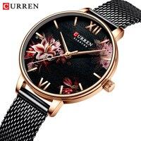 ساعات نسائية CURREN ساعة سوداء شبكة من الاستانلس استيل كوارتز ساعة اليد أنثى عادية ساعة ساحرة للسيدات relogios feminino