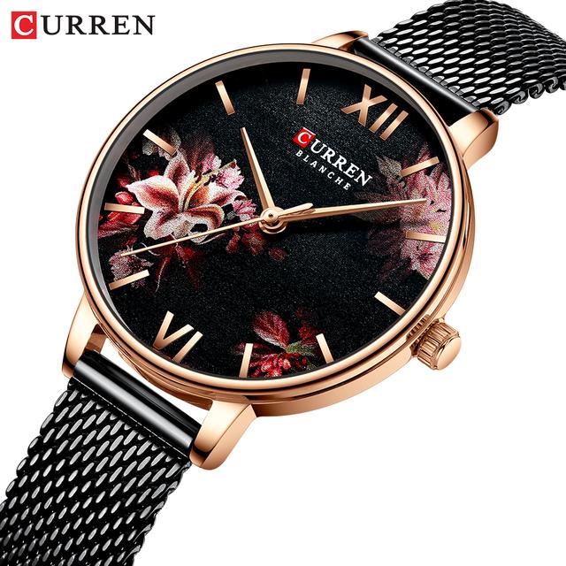 Women Watches CURREN Black Clock Stainless Steel Mesh Quartz Wristwatch Female Casual Charm Watch for Ladies relogios feminino