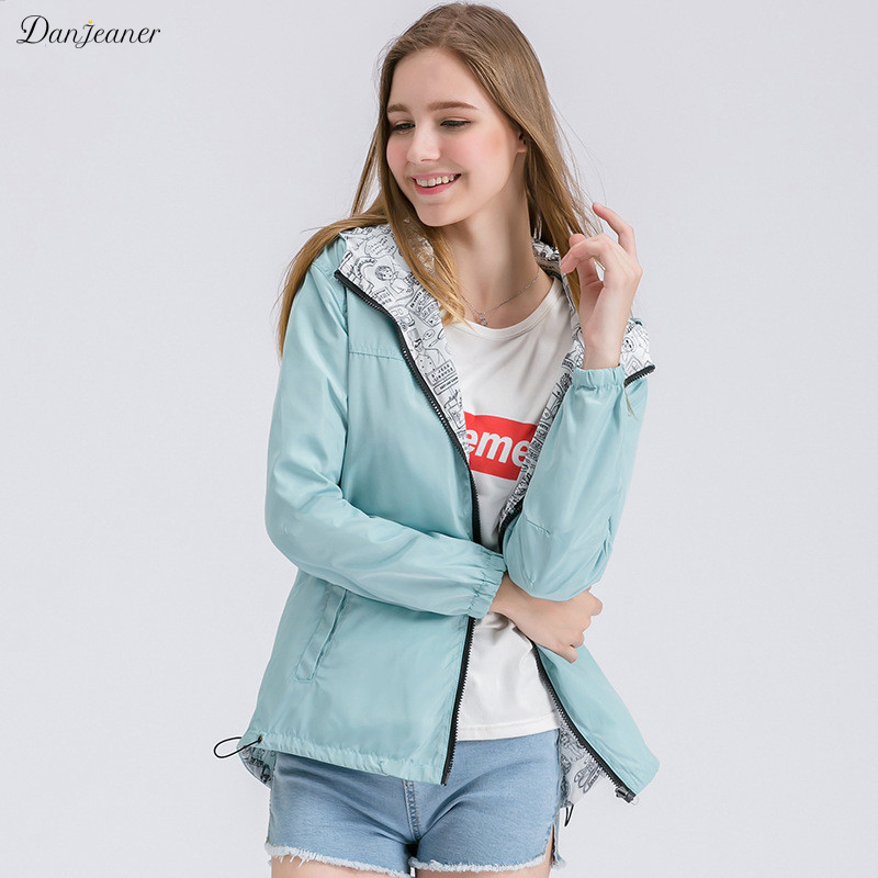 Danjeaner New Women Bomber   Basic     Jacket   Pocket Zipper Hooded Two Side Wear Cartoon Print Outwear Loose Coat Windbreaker