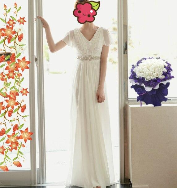 Vestido de festa longo livraison gratuite robe de soirée cap manches v-cou 2016 nouveau casamento blanc long cristal formel robe de soirée