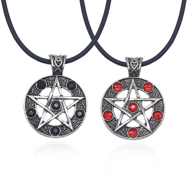 42e7dbde9a5f Joyería Anime Kuroshitsuji Pentagram Estrella Collares pendientes Rojo  Negro Rhinestone Gargantilla Cuerda Cadena Hombres Mujeres Collar