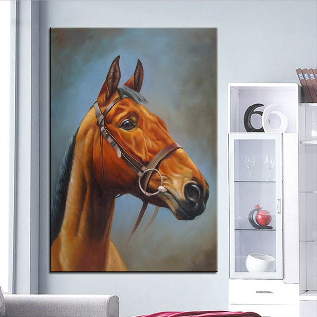 Wall Art Decor Painting Golden Horse S Head Digital Oil Print
