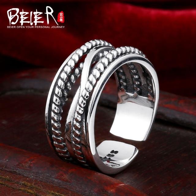 Beier cửa hàng mới đến 925 bạc sterling silver Dệt twist phụ kiện thời trang mở vòng unisex trang sức cho nam giới vòng LR925K030