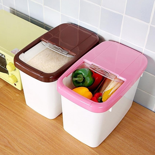 Urijk Large Boxes Organizer Thick Rice Pest Barrel Kitchen Plastic