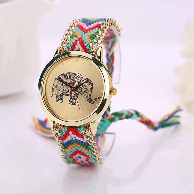 Women's Watches Elephant Pattern Weaved Rope Band Bracelet Quartz Dial watch Analog Quartz Wristwatches relogio masculino 30