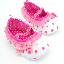 0 18M Infant Girls Crib Shoes Sweet Dot Flower Baby Bow Soft Sole Toddler Shoes