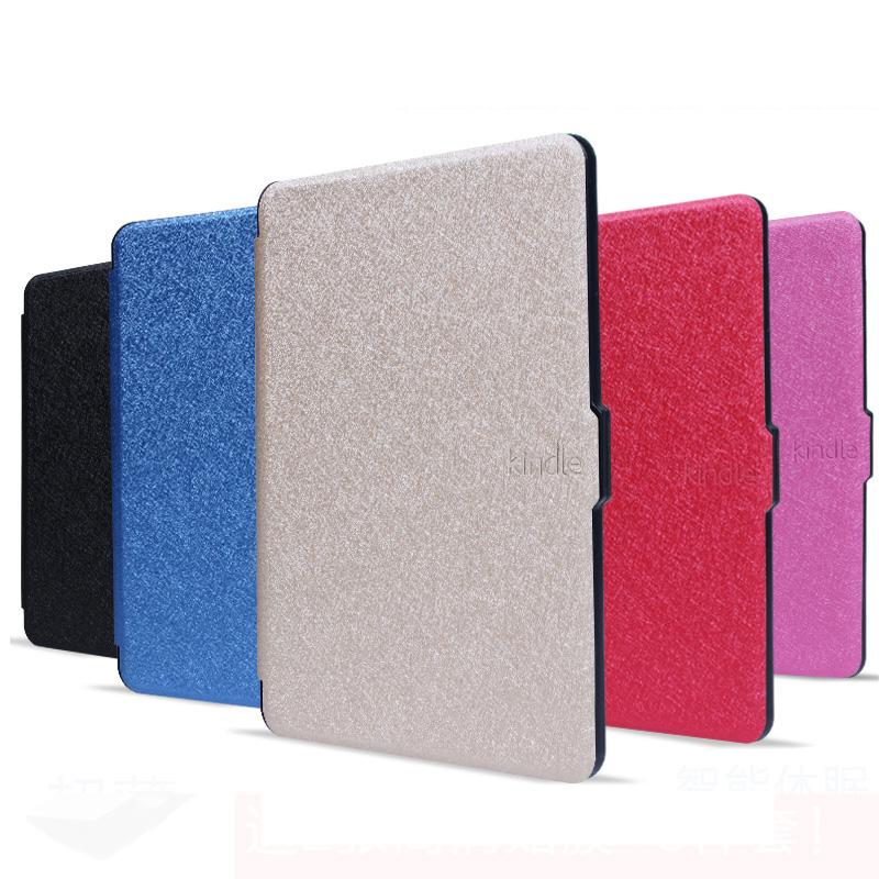 New Slim For Paperwhite 1 Silk Pattern Flip Cover Case for Amazon Kindle Paperwhite 3 2 1 Ultra Slim PU Cover pu leather ebook case for kindle paperwhite paper white 1 2 3 2015 ultra slim hard shell flip cover crazy horse lines wake sleep