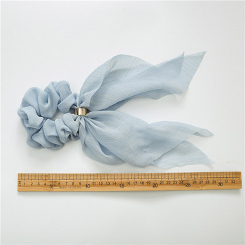2019 Solid Hair Bow Double Deck Streamers Hair Ring Fashion Women Girls Scrunchies Horsetail Tie Headwear Hair Accessories