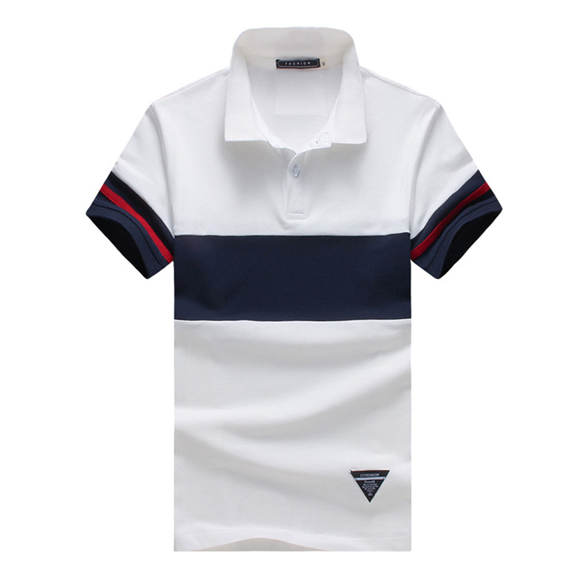 2018 Summer New Casual Men   Polo   Shirt Solid Color   Polo   Men Fashion Wave Large Size Stripes   Polo   Shirts Short Sleeve Men