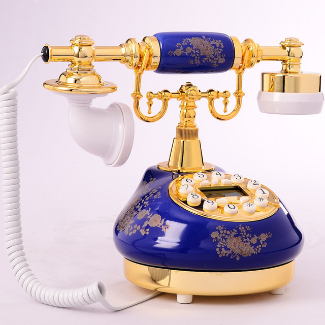 European Blue Jinhua Ceramic Antique Retro Telephone Caller Id