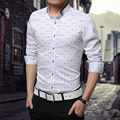 2016 Nova Plus Size M-5XL Ponto Regular Manga Comprida camisas dos homens, Ocasional Turn-down Collar shirt, Magro fit Cotton chemise homme-2206