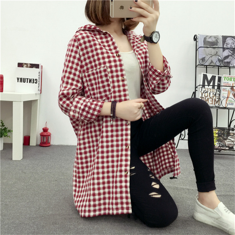 Brand Yan Qing Huan 2018 Spring Long Paragraph Large Size Plaid Shirt Fashion New Women's Casual Loose Long-sleeved Blouse Shirt 3