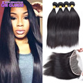 Peruvian Straight Virgin Hair With Frontal Closure Lace Frontal Closure With Bundles Human Hair 4 Bundles With Lace Closures