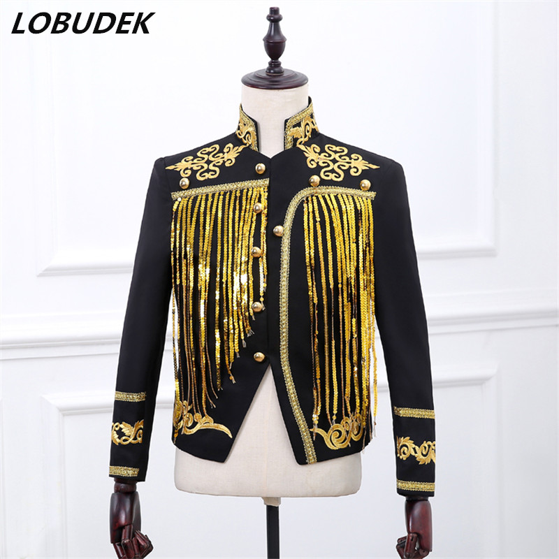 sequin jakcet blazer outfit coat gold white singer Costume dress male  sequined tassels nightclub stage activities star dancer 7d870be3730b
