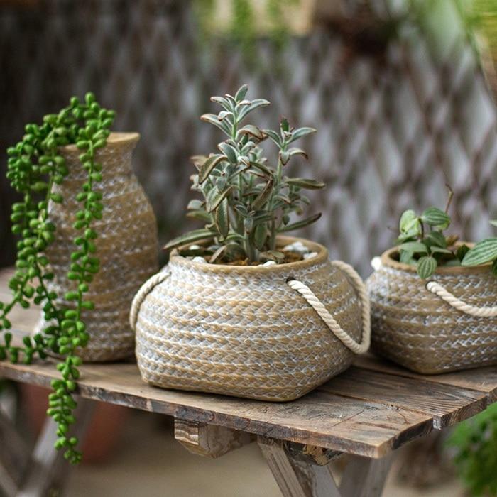 Décoration de jardin cour décor tissé poche poterie Sculpture fleur jardin parc paysage extérieur paysage Sculpture