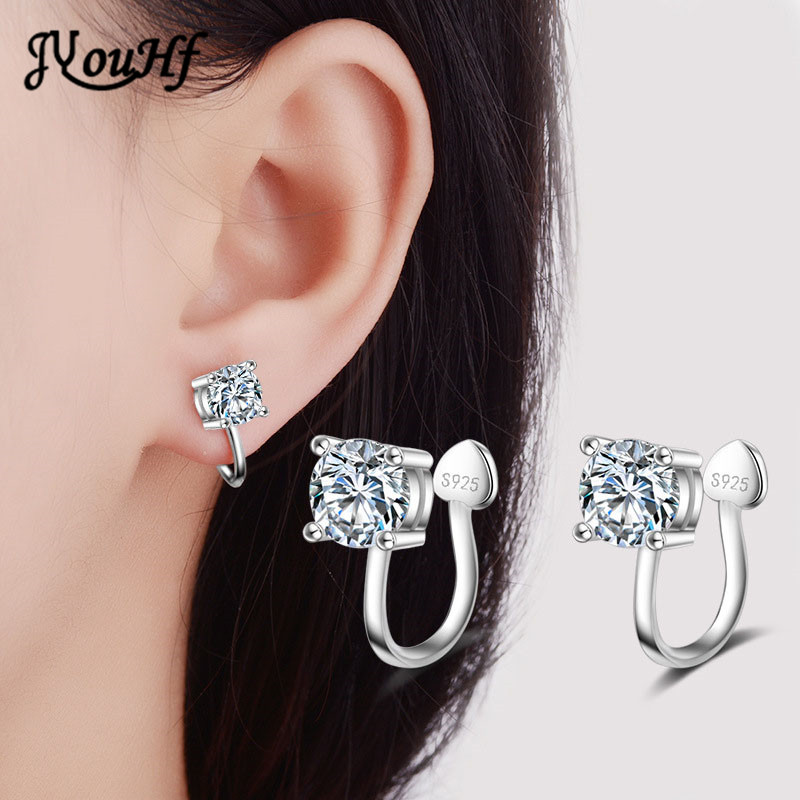 JYouHF Cute Design 4mm/6mm Zircon Ear Cuff Clip Earrings without Piercing Heart Shaped 925 Silver Earrings Female Women Jewelry
