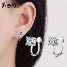 JYouHF Cute Design 4mm/6mm Zircon Ear Cuff Clip Earrings without Piercing Heart Shaped 925 Silver Earrings Female Women Jewelry